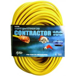 Coleman Cable - 172-02689 - Vinyl Extension Cord, SJTW-A, 100ft Long, 10/0 AWG, Yellow
