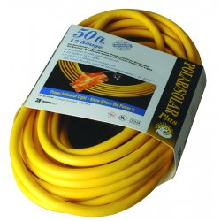 Coleman Cable - 03488 - Polar/Solar Outdoor Extension Cord, 50ft, Three-Outlets, Yellow