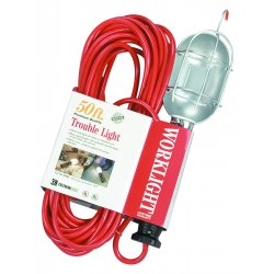 Coleman Cable - 05428 - 50-Foot 16/3 SJT Trouble Light with Safety Orange / Metal Guard