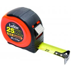 Apex Tool - XL8525 - Apex 1 3/16' X 25' Hi Viz Orange ABS Case Yellow Steel Blade Power Return Tape With 4-Rivet End Hook, ( Each )