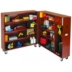 Jobox - 692990 - 63-1/2 x 30 x 62-1/2 Jobsite Clam Shell Cabinet, 58.0 cu. ft., Red