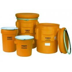 Eagle Mfg - 1602 - Drum Salvage High Density Polyethylene Yellow 30 Gal 28.5 In H 20.75 In Outside Diameter Eagle Mfg Co., Ea