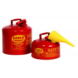 Eagle Mfg - UI-50-FS - Eagle 5 Gallon Red 24 Gauge Galvanized Steel Type I Safety Can With Non-Sparking Flame Arrestor And F-15 Funnel, ( Each )