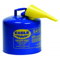 Eagle Mfg - UI-50-FSB - Eagle 5 Gallon Blue 24 Gauge Galvanized Steel Type I Safety Can With Non-Sparking Flame Arrestor And F-15 Funnel, ( Each )