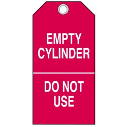 "Brady - 17924 - 0.010 Laminated Polyester Empty Cylinder Do Not Use Cylinder Status Tag, 5-3/4"" Height, 3"" Width"