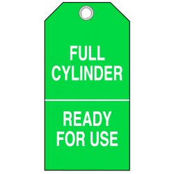 "Brady - 17926 - 0.010 Laminated Polyester Full Cylinder Ready For Use Cylinder Status Tag, 5-3/4"" Height, 3"" Width"