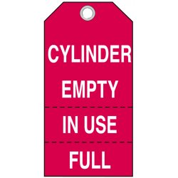 Brady - 17927 - Brady 3' W X 5 3/4' H White And Red 0.01' B-853 Cardstock Cylinder Status Tag 'CYLINDER EMPTY IN USE FULL' With Grommeted 3/8' Hole (100 Per Pack), ( Package )
