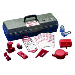 "Brady - 65289 - Brady Gray 14"" X 5 1/4"" X 6 1/2"" Plastic Lockout/Tagout Toolbox Includes (2) Blue Padlock, (1) Labeled Lockout Hasp, (5) Lockout Tags, (5) Lockouts And (1) Plastic Lockout Toolbox With Tray"