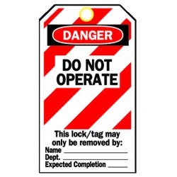 "Brady - 65452 - Danger Tag, Cardstock, Do Not Operate This Lock/Tag May Only Be Removed By, 5-3/4"" x 3"", 25 PK"