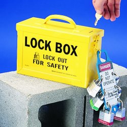 "Brady - 65672 - Yellow Heavy Duty Steel Group Lockout Box, Max. Number of Padlocks: 40, 6"" x 9"""