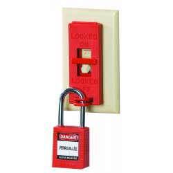 "Brady - 65696 - Wall Switch Lockout, Red, 9/32"" Padlock Shackle Max. Dia., Polypropylene, 6 PK"