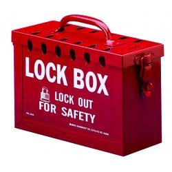 "Brady - 65699 - Red Steel Group Lockout Box, Max. Number of Padlocks: 13, 6"" x 9"""