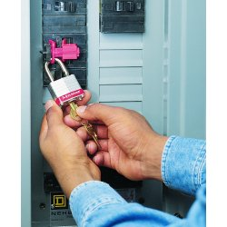 "Brady - 66321 - Circuit Breaker Lockout, Tie Bar, 120/277, Red, 9/32"" Padlock Shackle Max. Dia., 1 EA"