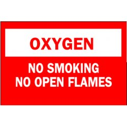 Brady - 73418 - Brady 10' X 14' White And Red 0.100' B-120 Premium Fiberglass Chemicals And Hazardous Materials Sign 'OXYGEN NO SMOKING NO OPEN FLAMES', ( Each )