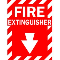 Brady - 86091 - Fire Extinguisher Sign, 14 x 10In, WHT/R