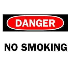 "Brady - 88370 - Brady 7"" X 10"" Black, Red And White 0.006"" - 0.010"" B-302 Self-Sticking Polyester Sign ""DANGER NO SMOKING"""