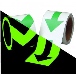 "Brady - 90973 - Brady 2"" W X 5 yd Green And Phosphorescent 0.008"" B-324 Glow-In-The-Dark Polyester Self-Stick Arrow Tape ""(green standard style arrow on phosphorescent)"" For Visible Marking At Night Or In Low Light Conditions"