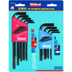 Eklind Tool - 10022 - Eklind 22 pc Combination Hex-L Key Set - Black - Alloy Steel - Heat Treated, Rust Resistant