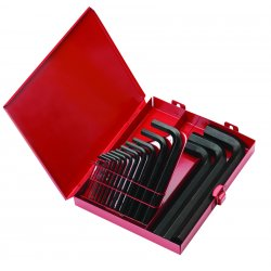 "Eklind Tool - 10118 - Eklind .028"" - 5/8"" Black Alloy Steel 18 Piece Hex Key Set With Metal Box"