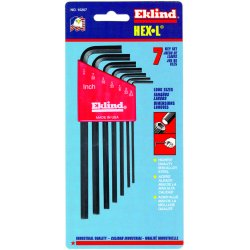 Eklind Tool - 10207 - 7pc. Inch L-wrench Hex Key Set Long Arm