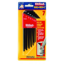 Eklind Tool - 13207 - Long L-Shaped SAE Black Oxide Ball End Hex Key Set, Number of Pieces: 7