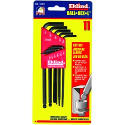 Eklind Tool - 13212 - Long L-Shaped SAE Black Oxide Ball End Hex Key Set, Number of Pieces: 12