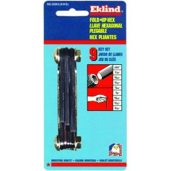 "Eklind Tool - 20912 - Eklind .050"" - 3/16"" Black Alloy Steel 9 Piece Fold-Up Hex Key Set With Classic Steel Handle"