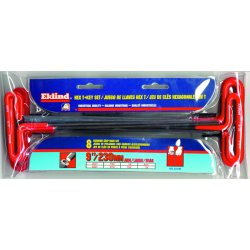 Eklind Tool - 53198 - 8-Pc Long Cushion Grip T-handle SAE set in Pouch
