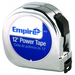 "Empire Level - 612 - Empire Level 5/8"" X 12' Chrome ABS Case Yellow Nylon Coated Steel Blade Closed Reel Single Side Power Measuring Tape With Inches Reading, Belt Clip And Slide Lock"