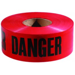 "Empire Level - 272-77-1004 - Danger Barricade Tape, ""Danger"" Text, 3"" x 1000ft, Red/Black"