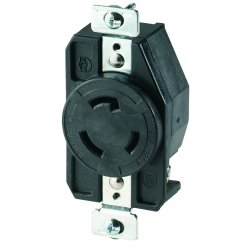 Cooper Wiring Devices - CWL520R - Recp Single 20a 125v 2p3w H/l Bk