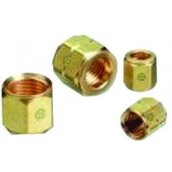 "Western Enterprises - 10 - Western CGA-021 ""A"" 3/8"" - 24 LH Brass 200 psig Hose Nut (For Wrench Flats)"