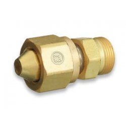 "Western Enterprises - 316 - Western ""B"" X CGA-300 X CGA-520 Brass Cylinder To Regulator Adapter"