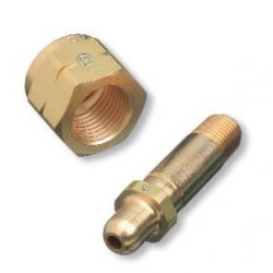 Western Enterprises - 83-CV - Western CGA-350 1/4' NPT Male X 2 1/2' L Brass 3000 psig Regulator Inlet Nipple With Check Valve