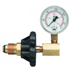 Western Enterprises - G-324H - Western CGA-320 2' 3000 psig Brass Pressure Test Gauge With Hand Tight Nut, ( Each )