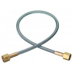 "Western Enterprises - PF-4-120 - Western Oxygen 1/4"" NPT Female X 120"" 304 Stainless Steel Braid Flexible Pigtail With Brass Connection"