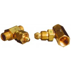 Western Enterprises - T-326 - Western CGA-326 Female RH Brass 3000 psig Manifold Coupler Tee With Without Check Valve