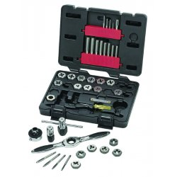 "GearWrench - 3885 - Carbon Steel Tap and Die Set, SAE, Number of Pieces: 40, #4 to 1/2"", 1/8"" NPT Size/Range"