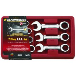 GearWrench - 9507 - 7 Pc. Stubby Combination Ratcheting Wrench Sets (Each)