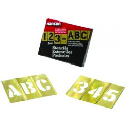 "C.H. Hanson - 10153 - Stencil Kit, A-Z, 0-9, $, & and Punctuation, 3"", Brass, 1 EA"