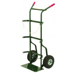 "Harper Trucks - 742-62 - Harper Series 700 Dual Cylinder Hand Truck With 10"" X 2"" Mold-On Rubber Wheels, Dual Handle And 9"" X 18"" Base Plate (For Medium To Large Cylinders)"