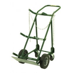 Harper Trucks - 764-39 - Harper Series 700 Dual Cylinder Hand Truck With 10' X 2 1/2' Polypropylene Hub Solid Rubber Wheels, 5' Rubber Swivel Caster, Continuous Handle And 9' X 18' Base Plate (For Medium To Large Cylinders), (