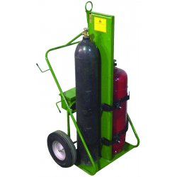 Saf-T-Cart - 552-16FW - Saf-T-Cart 780 lb Dual Cylinder Cart With 16' X 4' SC-11 Steel Hub Pneumatic Wheels, Continuous Handle, 13' X 24' Base Plate, Eye Hook And Firewall (For Large Cylinders), ( Each )