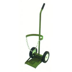 "Saf-T-Cart - 900-10-8 - Saf-T-Cart Single Cylinder Cart With SC-4 Semi-Pneumatic Plastic Wheels, Straight Handle, 8 1/4"" X 8 1/4"" Base Plate And Chain"
