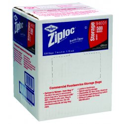 Johnson Diversey - 94601 - Case/500 Ziplock Bags Quart Storage 1.75 Mil