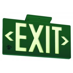Jessup - 7042-B - Glo Brite Eco Exit Sign Measures 8-3/4 Inch Hieght By 15-1/4 Inch Length Double Sided Green Color Seen At 50 Feet, EA