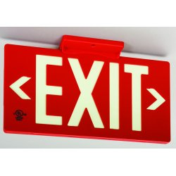 Jessup - 7050-B - Glo Brite Eco Exit Sign Measures 8-3/4 Inch Hieght By 15-1/4 Inch Length Singe Sided Red Color Seen At 50 Feet, EA