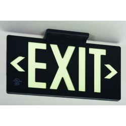 Jessup - 7062-B - Glo Brite Eco Exit Sign Measures 8-3/4 Inch Hieght By 15-1/4 Inch Length Double Sided Black Color Seen At 50 Feet, EA
