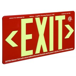 Jessup - 7070-B - Glo Brite Eco Exit Sign Measures 8-3/4 Inch Hieght By 15-1/4 Inch Length Red Color Seen At 100 Feet, EA