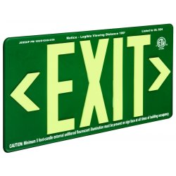 Jessup - 7082-B - Glo Brite Eco Exit Sign Measures 8-3/4 Inch Hieght By 15-1/4 Inch Length Double Sided Green Color Seen At 100 Feet, EA
